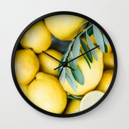 Lemons & Olive branches | Italian lifestyle | Travel photography food wall art print Wall Clock