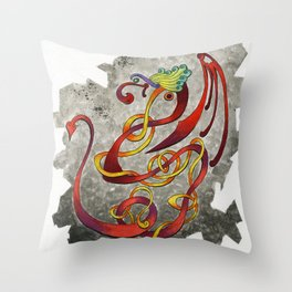 Dancing Dragon Throw Pillow
