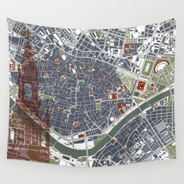 Seville city map engraving Wall Tapestry