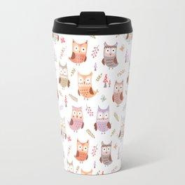 Cute pink lilac owls coral green floral illustration pattern Travel Mug