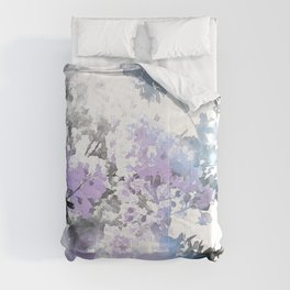 Watercolor Floral Lavender Teal Gray Comforters