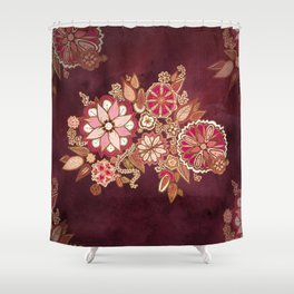 Golden Embroidery Flowers Shower Curtain