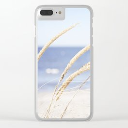 Beach Grass Blue Photography, Coastal Ocean Landscape, Sea Seashore Seascape Shore Clear iPhone Case