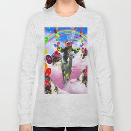 Sloth Riding Alpaca With Sundae And Jelly Beans Long Sleeve T-shirt