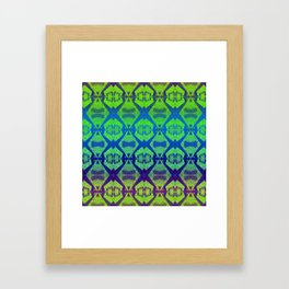 African Vintage Fabric Green Tone Gradient Framed Art Print
