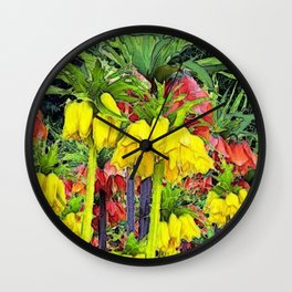 YELLOW CROWN IMPERIAL WATERCOLOR Wall Clock