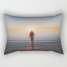 Walking Into the setting sun Rectangular Pillow