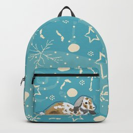 Seamless Winter pattern with bunnies Backpack