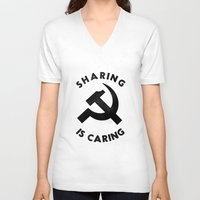 marx V-neck T-shirts featuring Sharing Is Caring by Landon Sheely