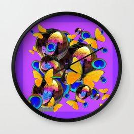 PANTENE ULTRA VIOLET GOLD BUTTERFLY BUBBLES DECORATIVE ART Wall Clock
