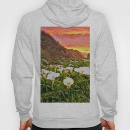 'Calla Lily Sunrise at Big Sur' Portrait Painting by Jeanpaul Ferro Hoody
