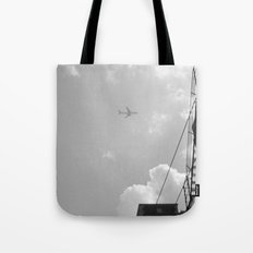Leaving On A Jet Plane ~ black and white Tote Bag