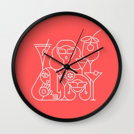 Cocktail Party Red Wall Clock