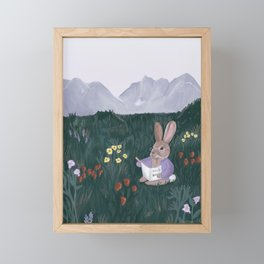 Wildflower Field with Rabbit / Field Notes / Mountain and field of flowers Framed Mini Art Print
