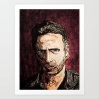 rick grimes Art Prints featuring Rick Grimes by Mike Brennan