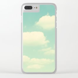 Mint Turquoise Sky Clouds, Teal Nursery Cloud Photography, Baby's Room Photo Clear iPhone Case