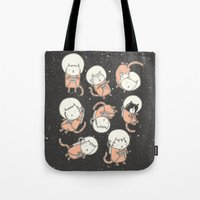 Tote Bags featuring Cat-Stronauts by Drew Brockington