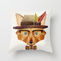mr fox Throw Pillows featuring mr. fox by Manoou