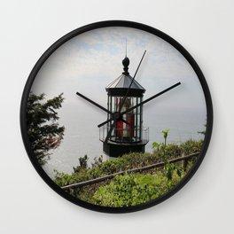 The Red Beacon On Tillamock Bay Wall Clock
