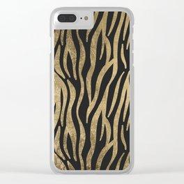 Modern elegant black faux gold trendy zebra animal print Clear iPhone Case