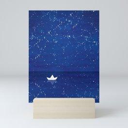 Zen sailing, ocean, stars Mini Art Print