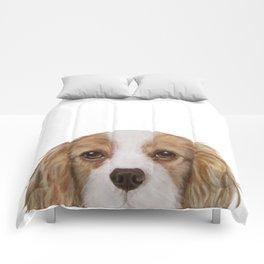 Cavalier King Charles Spaniel Dog illustration original painting print Comforters