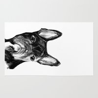 french bulldog Area & Throw Rugs featuring French Bulldog by James Peart