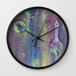 Purple Artist Brushes Wall Clock