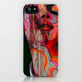 Face of a woman in a grunge style with linedrawing iPhone Case