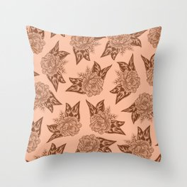 Cabbage Roses in Rust Throw Pillow