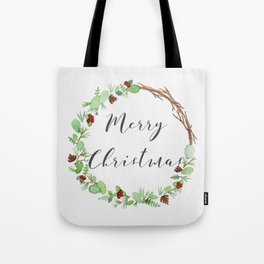 Merry Christmas Wreath Tote Bag
