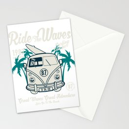 Ride The Waves California Surfing Summer Stationery Cards