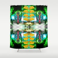 transformer Shower Curtains featuring RoboTaco by Riot Clothing
