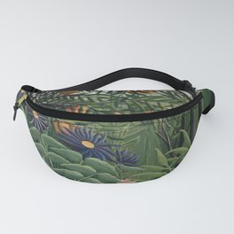 Woman Walking in an Exotic Forest Fanny Pack