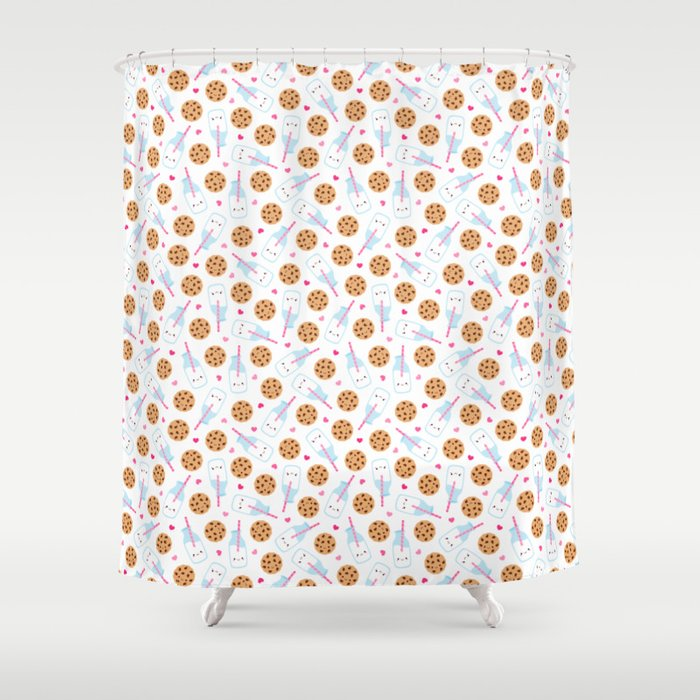 Happy Milk and Cookies Pattern Shower Curtain