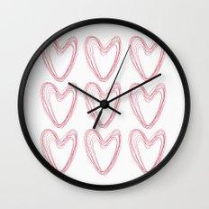 Nine Red Hearts Wall Clock