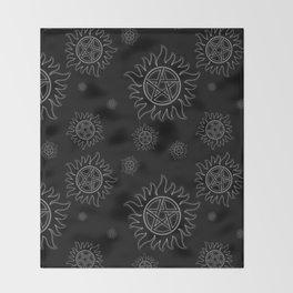 Anti Possession Pattern White Glow Throw Blanket