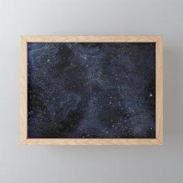 Antique World Star Map Navy Blue Framed Mini Art Print