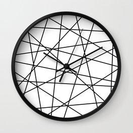 Geometric Lines (black/white) Wall Clock