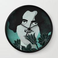 oscar wilde Wall Clocks featuring Oscar Wilde by Phantasmagoria