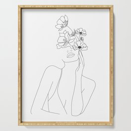 Minimal Line Art Woman with Flowers Serving Tray