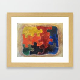 Multicolor Puzzle Painting Framed Art Print