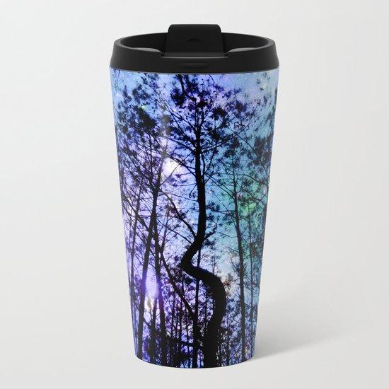 Black Trees Aqua Lavender Space Metal Travel Mug