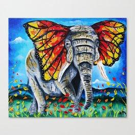 elephant painting, butterfly, monarch, fall leaves, elephant artwork, wall art, autumn Canvas Print