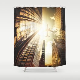 airplane in new york city Shower Curtain