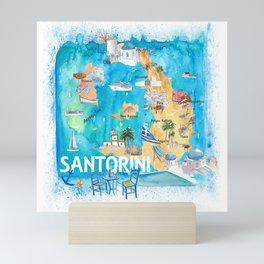 Santorini Greece Illustrated Map with Main Roads Landmarks and Highlights Mini Art Print
