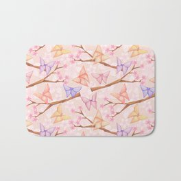 Cherry Blossoms & Butteflies Origami Bath Mat