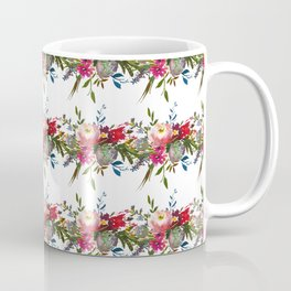 Hand painted pink green watercolor floral stripes Coffee Mug