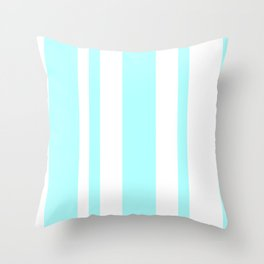 Mixed Vertical Stripes - White and Celeste Cyan Throw Pillow