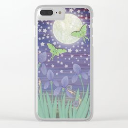 Moonlit stars, luna moths, snails, & irises Clear iPhone Case